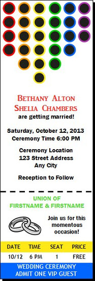 Circular Rainbow Gay Wedding Ticket Invitation