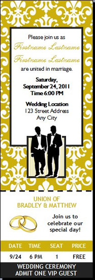 Class Act Gay Wedding Ticket Invitation