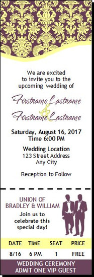 Eggplant Floral Gay Wedding Ticket Invitation