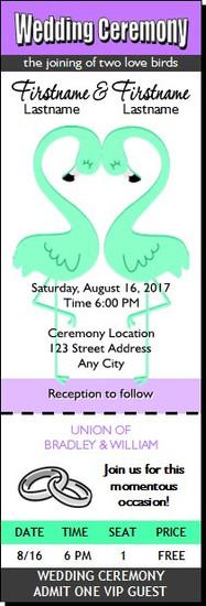 Flamingo Love Gay Wedding Ticket Invitation