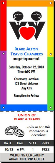 Rainbow Grooms Gay Wedding Ticket Invitation