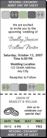 Seafoam Gray Squares Gay Wedding Ticket Invitation