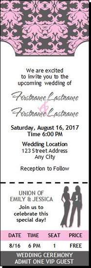 Shabby Pink Print Lesbian Wedding Ticket Invitation Butch-Femme