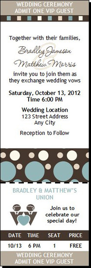 Shapes Blue Gay Wedding Ticket Invitation