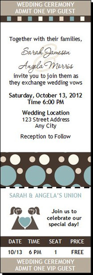 Shapes Blue Lesbian Wedding Ticket Invitation