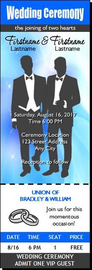 Wedding Gay Blue Ticket Invitation