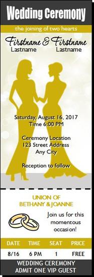 Wedding Lesbian Ticket Invitation