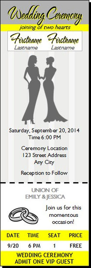 Yellow Gray Lesbian Wedding Ticket Invitation
