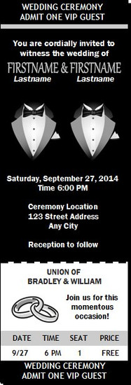 Two Tux Gay Wedding Ticket Invitation