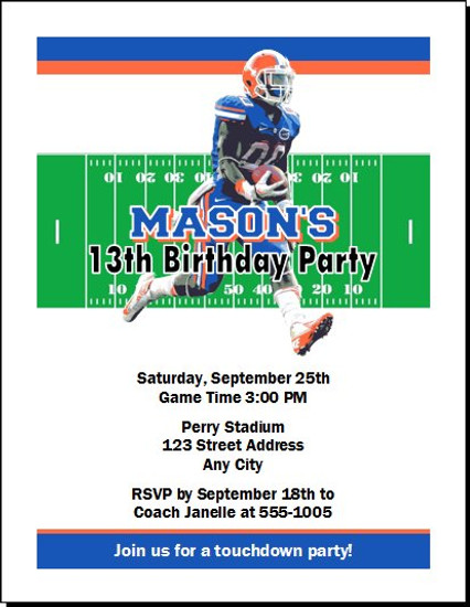 Florida Gators Colored Football Birthday Party Invitation
