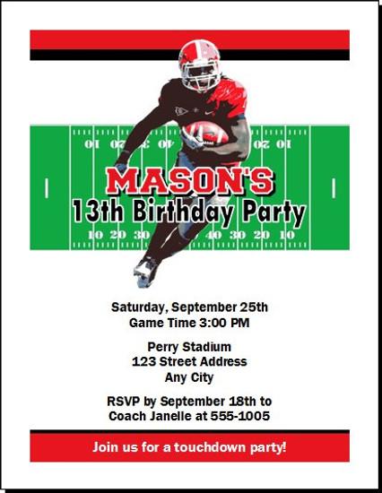 Georgia Bulldogs Colored Football Birthday Party Invitation