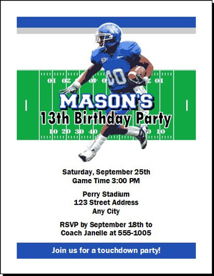 Kentucky Wildcats Colored Football Birthday Party Invitation