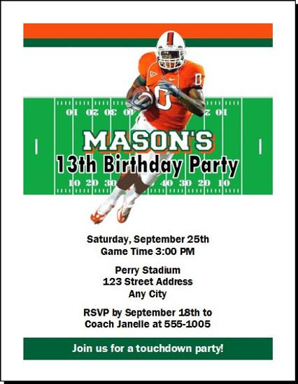 Miami Hurricanes Colored Football Birthday Party Invitation