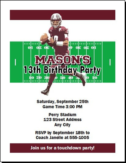 Mississippi State Bulldogs Colored Football Birthday Party Invitation