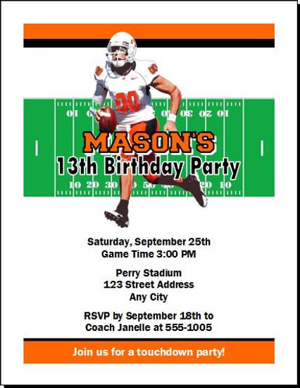 Oklahoma State Cowboys Colored Football Birthday Party Invitation