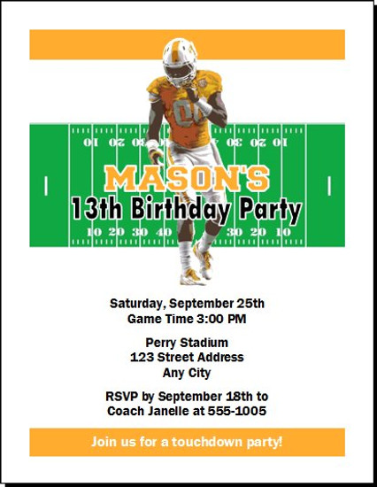 Tennessee Volunteers Colored Football Birthday Party Invitation