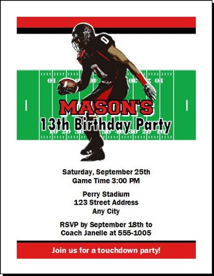 Texas Tech Red Raiders Colored Football Birthday Party Invitation