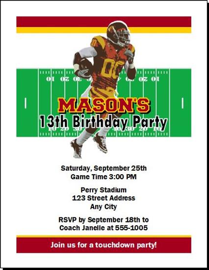 USC Trojans Colored Football Birthday Party Invitation