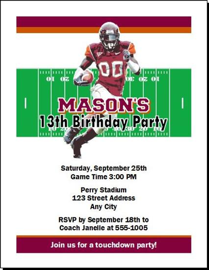 Virginia Tech Hokies Colored Football Birthday Party Invitation