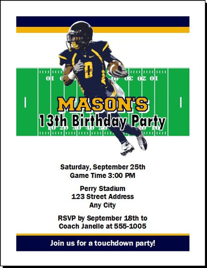 West Virginia Mountaineers Colored Football Birthday Party Invitation
