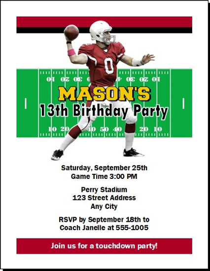 Arizona Cardinals Colored Football Birthday Party Invitation