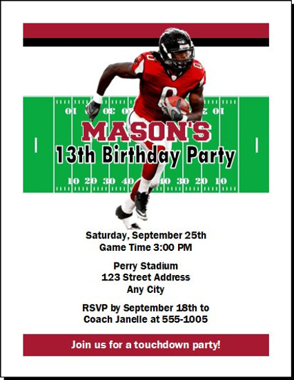 Atlanta Falcons Colored Football Birthday Party Invitation