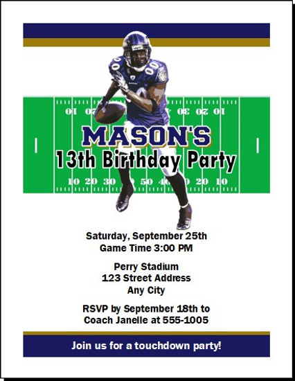 Baltimore Ravens Colored Football Birthday Party Invitation