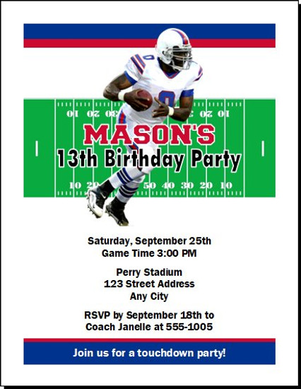 Buffalo Bills Colored Football Birthday Party Invitation