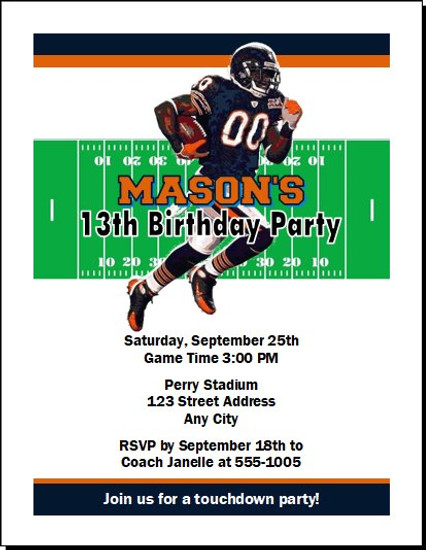Chicago Bears Colored Football Birthday Party Invitation