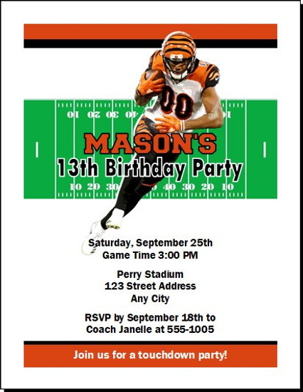 Cincinnati Bengals Colored Football Birthday Party Invitation
