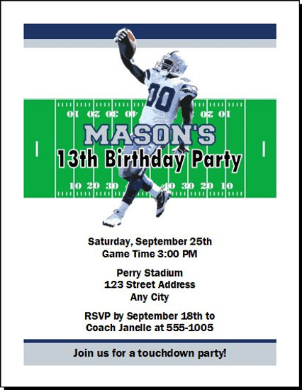 Dallas Cowboys Colored Football Birthday Party Invitation
