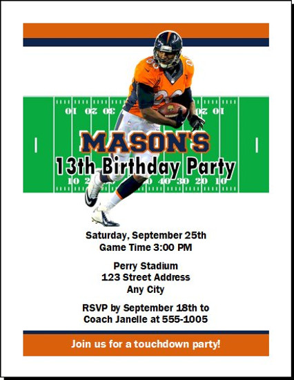 Denver Broncos Colored Football Birthday Party Invitation
