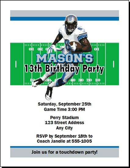 Detroit Lions Colored Football Birthday Party Invitation