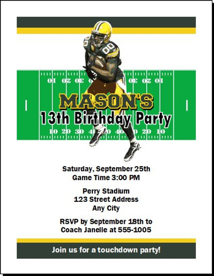 Green Bay Packers Colored Football Birthday Party Invitation