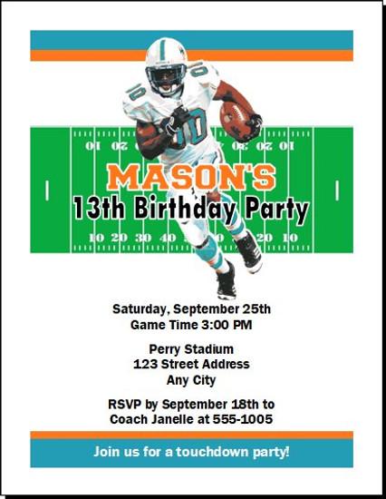Miami Dolphins Colored Football Birthday Party Invitation