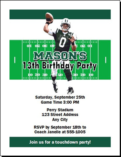 New York Jets Colored Football Birthday Party Invitation