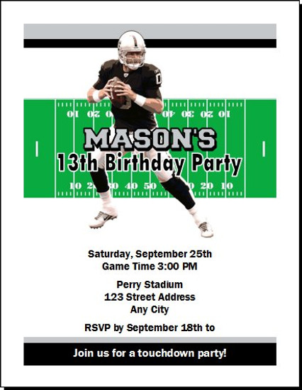 Oakland Raiders Colored Football Birthday Party Invitation