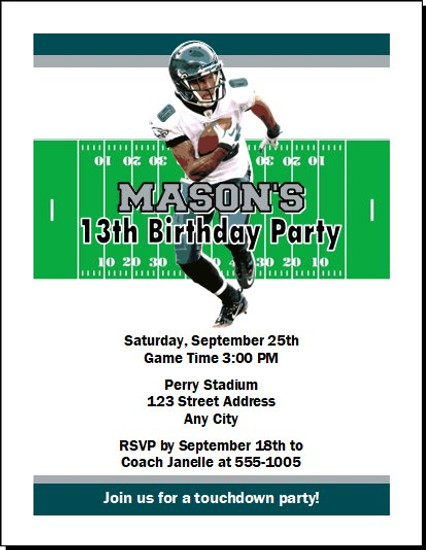 Philadelphia Eagles Colored Football Birthday Party Invitation