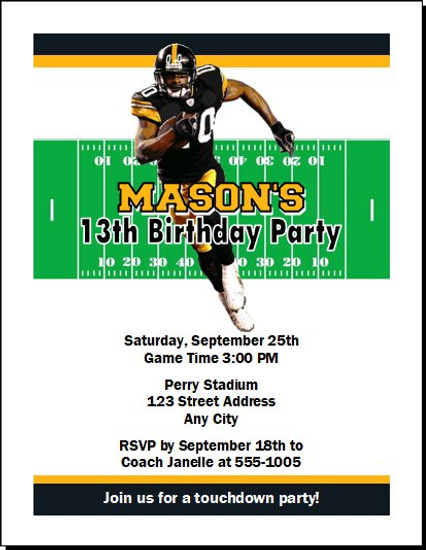 Pittsburgh Steelers Colored Football Birthday Party Invitation
