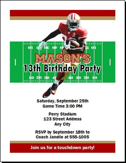 San Francisco 49ers Colored Football Birthday Party Invitation