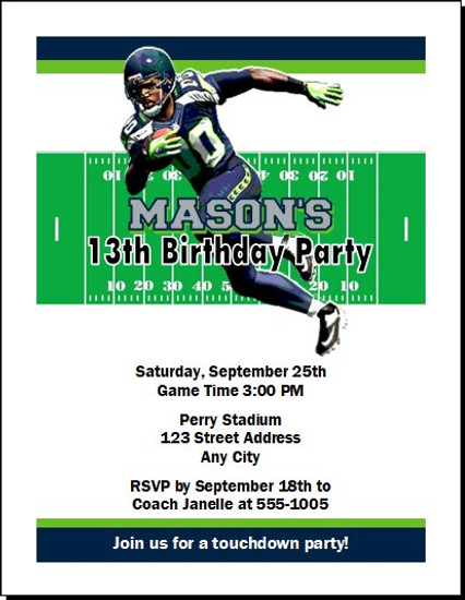 Seattle Seahawks Colored Football Birthday Party Invitation