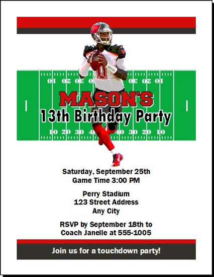 Tampa Bay Buccaneers Colored Football Birthday Party Invitation