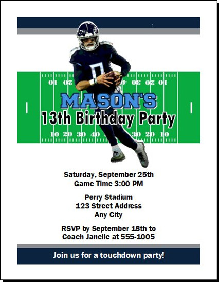 Tennessee Titans Colored Football Birthday Party Invitation