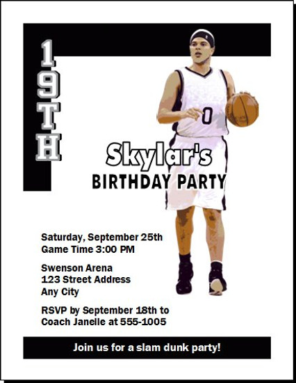 Brooklyn Nets Colored Basketball Party Invitation