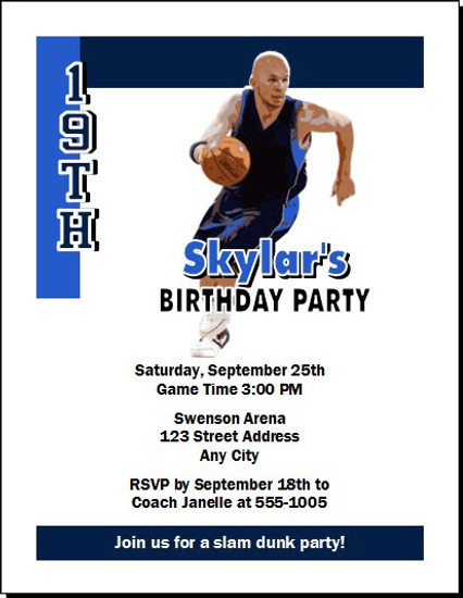 Dallas Mavericks Colored Basketball Party Invitation