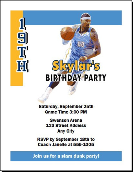 Denver Nuggets Colored Basketball Party Invitation