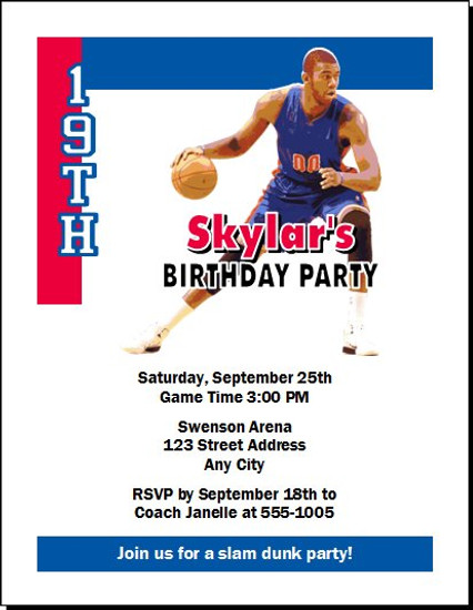 Detroit Pistons Colored Basketball Party Invitation