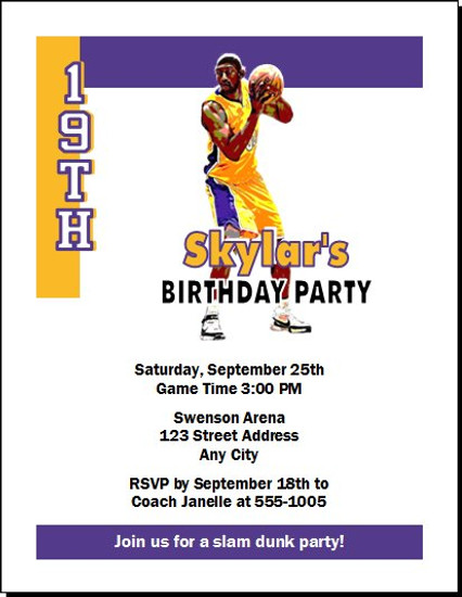 LA Lakers Colored Basketball Party Invitation Set Of 12