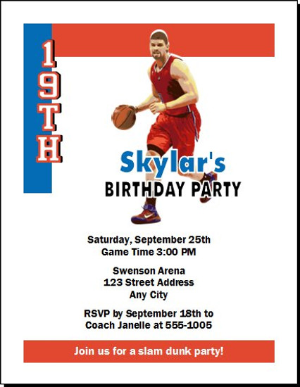 Los Angeles Clippers Colored Basketball Party Invitation