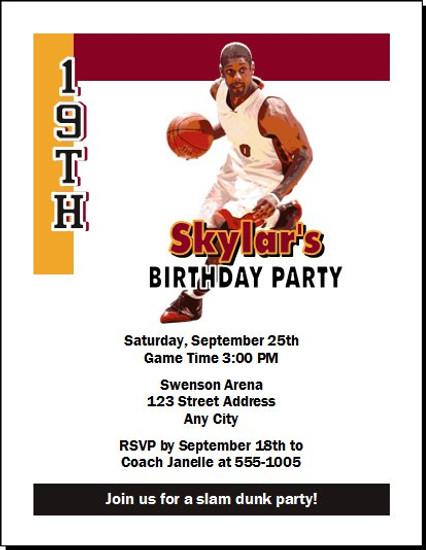 Miami Heat Colored Basketball Party Invitation